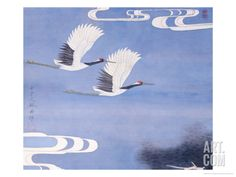 Twin Cranes Giclee Print by Hsi-Tsun Chang at Art.com