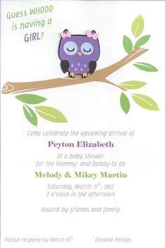 Owl Themed Baby Shower Invitation