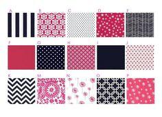 $145 NAVY and PINK : 2PC Modern Custom Crib Bedding Set - Blanket & Crib Skirt