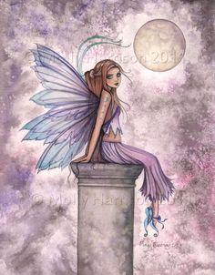 Low Hanging Moon Fairy Fantasy Original Fine por MollyHarrisonArt