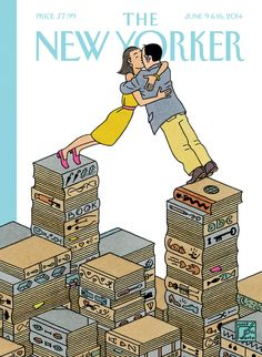 Joost Swarte ), Dutch / 'Love Stories' cover of The New Yorker magazine, June 9 & 2014 summer fiction issue . depicts woman and man leaning together & kissing across divide between separate piles of books resembling NYC skyscrapers The New Yorker, New Yorker Covers, Cd Cover, Cover Art, Hugs, Pile Of Books, Ligne Claire, Magazine Art, Magazine Covers