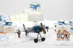 Vintage airplane theme for boys party, make this idea sky high.