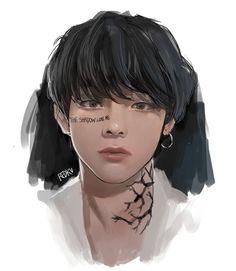 Taehyung Fanart, Bts Taehyung, Anime Hair, Anime Eyes, Bts Memes, V Chibi, V Bts Wallpaper, Kpop Drawings, Bts Imagine