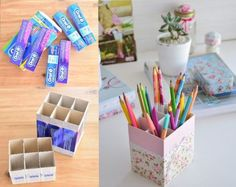 Easy Ways to Recycle – Recycling Information Diy Craft Projects, Diy Arts And Crafts, Diy Crafts, Diy Cardboard Furniture, Cardboard Crafts, Paper Crafts, Diy Karton, Diy Recycling, Diy Storage Boxes