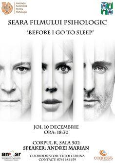 """Seara filmului psihologic – """"Before I go to sleep"""" Go To Sleep, Film, Movie, Film Stock, Cinema, Films"""
