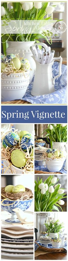 SPRING KITCHEN TABLE VIGNETTE an easy and fresh way to decorate for spring stonegableblog.com