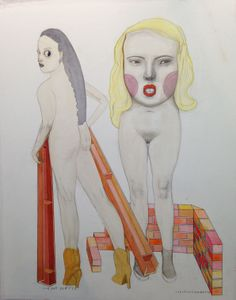 Construction Workers (2014) by Pat Andrea. Drawing Now Paris 2014.