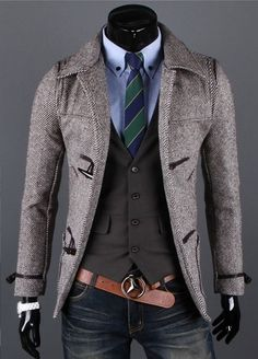 I like the jacket and vest for myself, but could see this with dressy black or pinstripe pants and moderate heels. Not crazy about the belt or tie. Open collar white shirt or grey or teal t-shirt would look good.