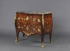 A Louis XV Style Gilt-Bronze Mounted Bois Satine and Fruitwood Marquetry Commode With a Brèche du Benou Verte Marble Top By François Linke by FRANÇOIS LINKE - Adrian Alan