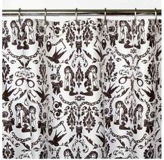 Sin In Linen Ravens Dream Swallow Retro Pin Up Tattoo Shower Curtain Rockabilly