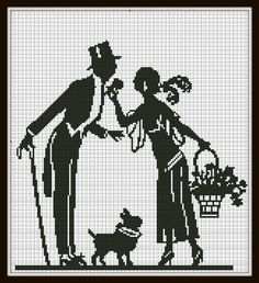 Cross Stitch Pattern Man with woman and dog Vintage Silhouette Handmade Black and White pdf. $4.00, via Etsy.