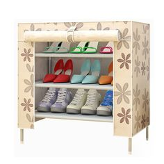 Multi Function Storage Shoe Rack Non Woven Cartoon Pattern Cabinet Furniture New Shoe Rack Organization, Shoe Organizer, Shoe Storage, Diy Storage, Shoe Shelf In Closet, Shoe Shelf Diy, Shelf Furniture, Furniture Sale, Quality Furniture