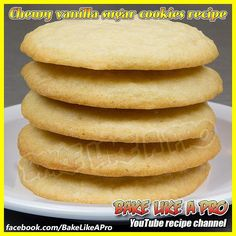 Easy CHEWY Vanilla Sugar Cookies Recipe - Yes ! CHEWY !  This is a FULL step-by-step video recipe on my YouTube channel  Recipe:  https://youtu.be/GXLF2qtFYeA  #recipe #sugarcookies #cookies #food #sugarcookie #eat #foodies #instagram #instadaily #instagood #Instafood #instalike