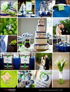 Green and Royal Blue Wedding. I love this shade of blue!