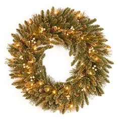 National Tree 24 Inch Glittery Pine Gold Wreath with 50 Clear Lights GPG334124W ** This is an Amazon Affiliate link. For more information, visit image link.