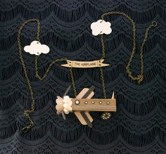 The Airplane Necklace / Banner / Clouds / Wheels and by ByBeep, $78.00