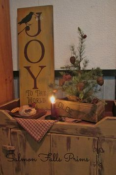 joy to the world mustard sign with crow feather tree primitive Christmas decorations by new creation