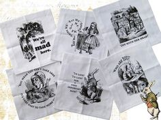 Alice in Wonderland Cocktail Napkins set of 6  Tartx by tartx, $30.00