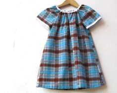 The Ramona Dress  girls summer dress in blue brown by SewnNatural on etsy.
