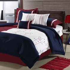 Montara Seven-Piece Comforter Set In Navy, Red And White - Beyond the Rack $134.99