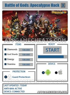Battle of Gods Apocalypse Hack & Cheats for Diamonds, God Shards, Energy, & Stamina  #Action #BattleofGodsApocalypse #RPG http://appgamecheats.com/battle-of-gods-apocalypse-hack-cheats/