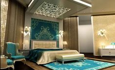 ARABIC PERFECTION - turquoise, gold and white master bedroom