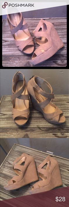 """Chinese Laundry Tan Wedges Cute & comfortable wedges in excellent condition! 5"""" wedge with a 1"""" platform. Only worn once. Slight wear on the bottom of the wedge shown in the last pic. Can be worn dressy or casual! Do not have the box. Chinese Laundry Shoes Wedges"""