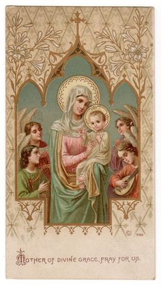 Mary Mother of Divine Vintage Holy Card