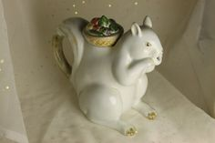 Squirrel TEAPOT White Ceramic Great expression by theartlyons