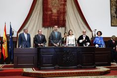 King Felipe VI of Spain and Queen Letizia of Spain attend the opening of the Scholar University College year at the Salamanca University on 14 September 2017.