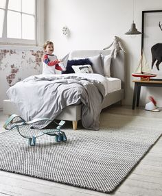 Check out our new Flint Block rug we used to create a gorgeous monochromatic finish in Oscar's bedroom.  We teamed this up with our Logan bed and a trans-seasonal colour palette of grey, white and navy blue - the perfect year-round styling solution for a boy's room!