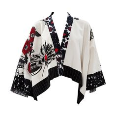 Kenzo Runway Printed Cotton & Beads Kimono Jacket | From a collection of rare vintage jackets at https://www.1stdibs.com/fashion/clothing/jackets/