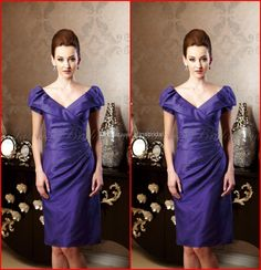 Wholesale Mother of the Bride Dress - Buy New Arrival Jasmine 2014 Mother of the Bride Dress V Neck Short Capped Sleeve Knee Length Beaded Formal Gowns Cocktail Party Dresses AM-53, $105.0 | DHgate