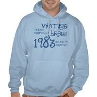 30th Birthday Gift 1983 Vintage Brew Name For Him Hooded Pullovers from Zazzle.com. #tees #tshirt #sweatshirt #hoodie #longsleeve #shortsleeve #30th #1983 #customize #birthday