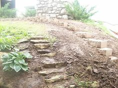"""Large slabs of stone used as steps from """"Dead End"""" blog. How heavy are these guys? I'd never be able to move them."""