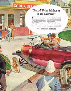 1936 BIG Vintage Gulf Oil Co. 1913 Drive In Gas Service Station Car Art Print Ad Old Advertisements, Advertising, Gas Service, American Diner, Gas Station, Print Ads, Art Prints, History, Retro