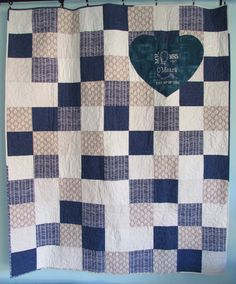Signature Wedding Quilt Navy & Gray by HomeSewnStudio on Etsy