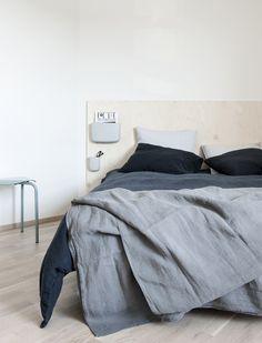 grey linen bedding
