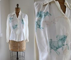 1940s Novelty Print Blouse / Wild Horses Blouse by CaramelVintage