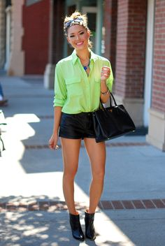 leather shorts with mint green chiffon blouse