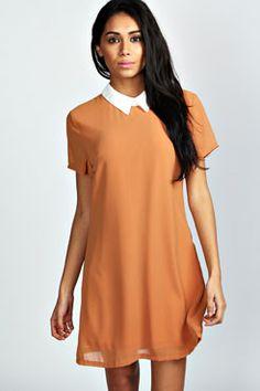Celine Collar Shift Dress at boohoo.com