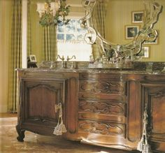 """French Country Style Bath by Designer Charles Faudree.  """"Gracious vintage & antique sideboards repurposed as bath vanity sinks provide unique character & charm not found in stock or custom cabinets"""" Carolyn Williams, Antiques & Interiors, Atlanta & Roswell, GA"""