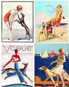 Vintage Beach Greyhound Dog Art Notecards Set of 4 w/env #DogArt