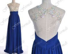 2014 Prom Dresses, Royal Blue Formal Dresses, Straps Lace/ Crystal Long Chiffon Prom Dresses with Open Back,