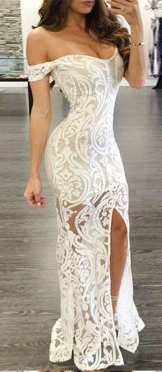 Sexy Prom Dress,Lace Sheath Prom Dresses,Off-the-Shoulder Prom Gown,Long Formal Dress,Lace Evening Dress with Split,Prom Dress 2017,Charming Evening Dress