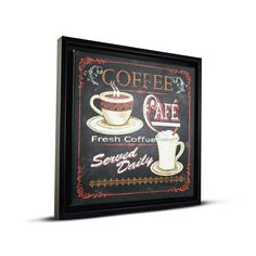 Gallery Coffee Cafe Canvas Framed Wall Art Painting Print