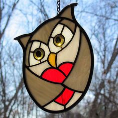 Little Grey Love Owl stained glass