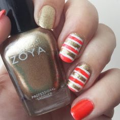 red gold white striped nails nailart zoya