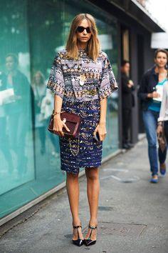 Dress: Kenzo Shoes: Jimmy Choo Bag, Necklace: Tory Burch   - ELLE.com