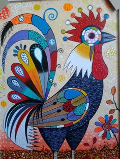 Rooster Painting, Bunny Painting, Chicken Painting, Rooster Art, Chicken Art, Fabric Painting, Arte Do Galo, Pop Art, Art Fantaisiste